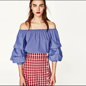 Zara Off The Shoulder Ruffle Sleeve Striped Blouse